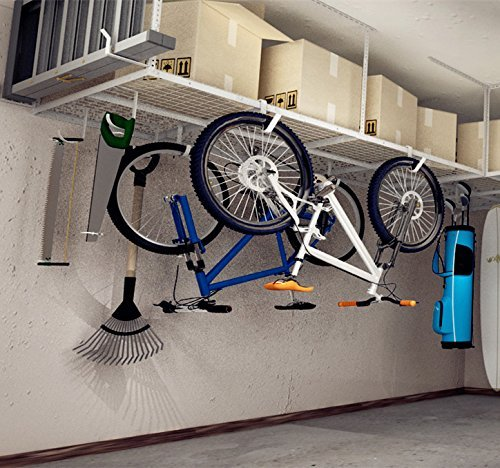 Fleximounts 4x8 Overhead Garage Rack with Add-on Hooks Set Heavy Duty Height Adjustable Ceiling Racks (22''-40
