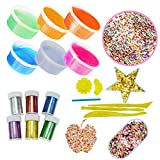 SOMAN 21Pcs Slime Making Kit Including Crystal Slime, Colorful Foam Balls,Fruit Face Decoration Pieces and Cake Decoration Pieces,Glitter Shake Jars and Star Shaped Confetti Tools Moulds Straw (L)