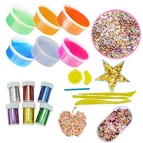 SOMAN 21Pcs Slime Making Kit including Crystal Slime,Colorful Foam Balls,Fruit Face Decoration Pieces and Cake Decoration Pieces,Glitter Shake Jars and Star Shaped Confetti Tools Moulds Straw (L)
