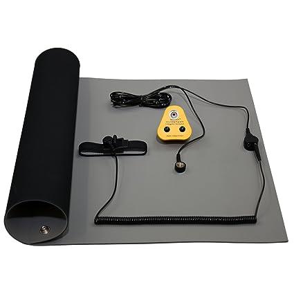 EU Kit 1000x500mm NOSHOCK ESD Erdungsmatte Hochtemperatur L/ötstation Werkbank Matte Set Antistatisch