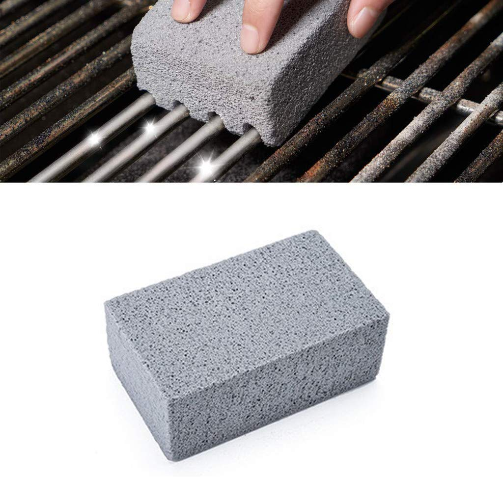 3 PCS Clearance Hot Sale New Griddle Grill Cleaner BBQ Barbecue Scraper Griddle Cleaning Stone Grill Brick Barbecue Grill Cleaning Stone Heavy Duty Easily Cleans Grill Brush Without Damage Gray