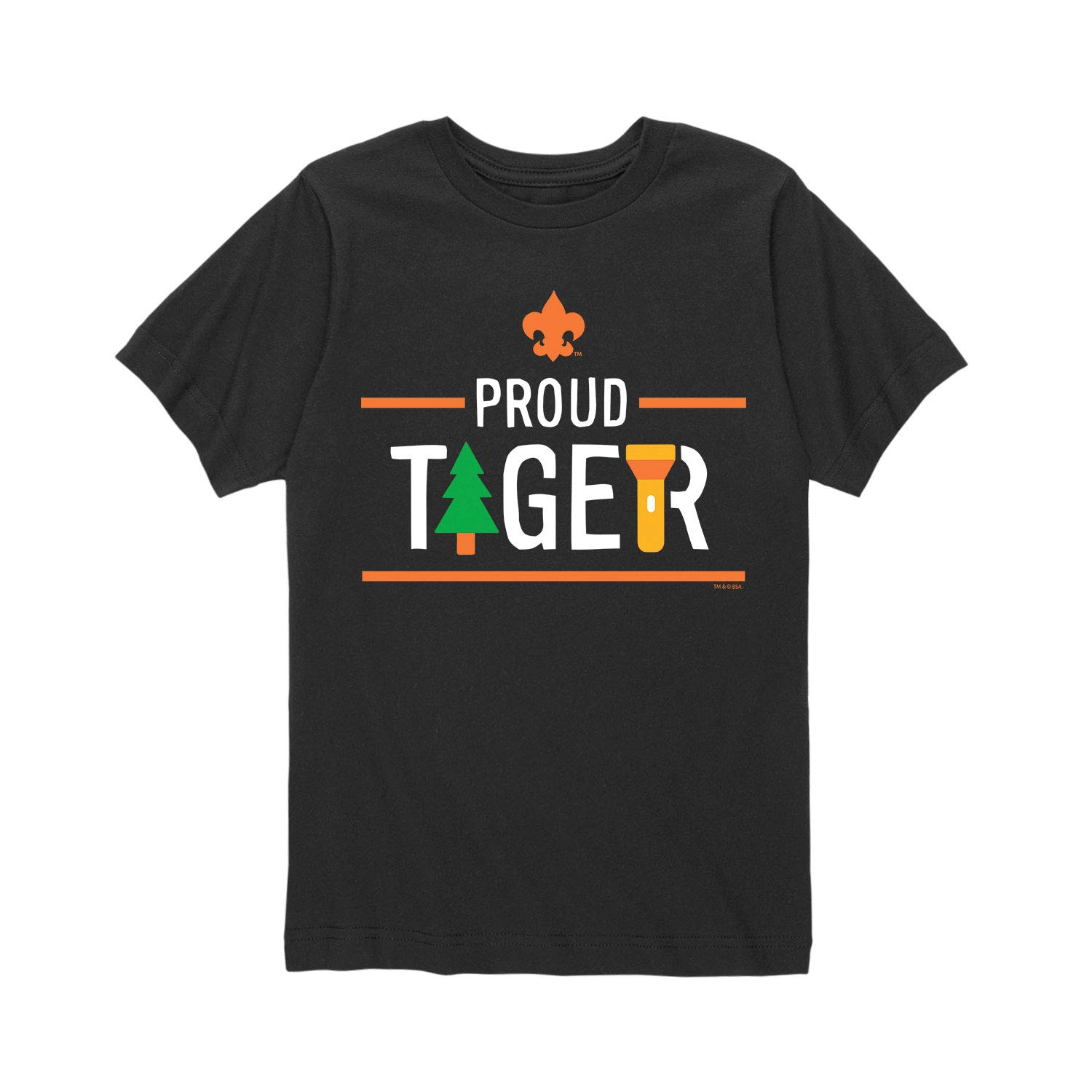 Boy Scouts of America Icon Tiger Cub Scout - Youth Short Sleeve Tee Black by Instant Message