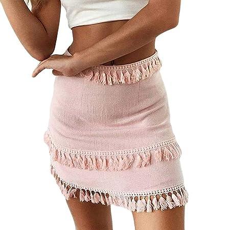 Fuxitoggo para Mujer Elástico de Cintura Alta Wrap Falda Suelta ...