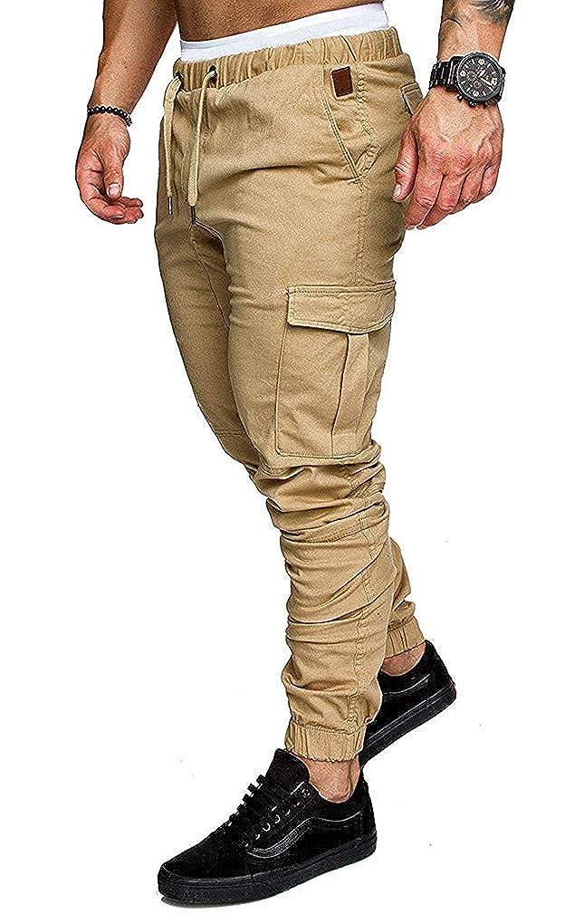 TALLA M. Socluer Cinturón de algodón elástico de los Hombres Pantalones de Carga Largos con cordón Bolsillos Laterales Pantalones Deportivos Pantalones de Jogging Ropa Deportiva