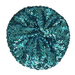 A8-lake Blue colored Sequin Beret Beanie Hat
