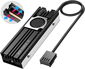ineo Aluminum M.2 2280 SSD Heatsinks with 20mm Fan, Powerful Cooling for NVME or SATA M.2 SSD [C2600 Fan]