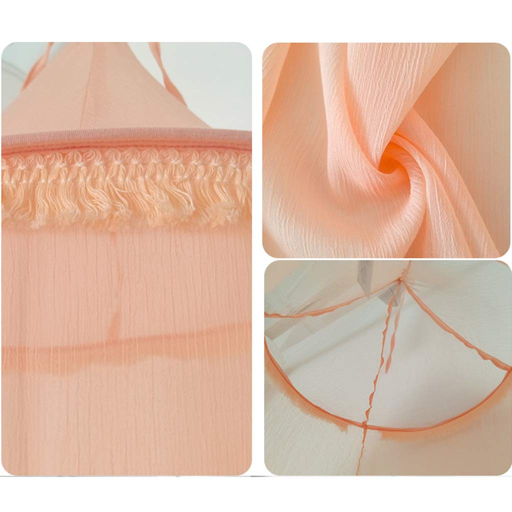 Chiffon Breathable Children Round Dome Tent for Game House,Playing Reading Corner Mosquito Net Baby Bed Canopy Bedroom Decorationn,Pink