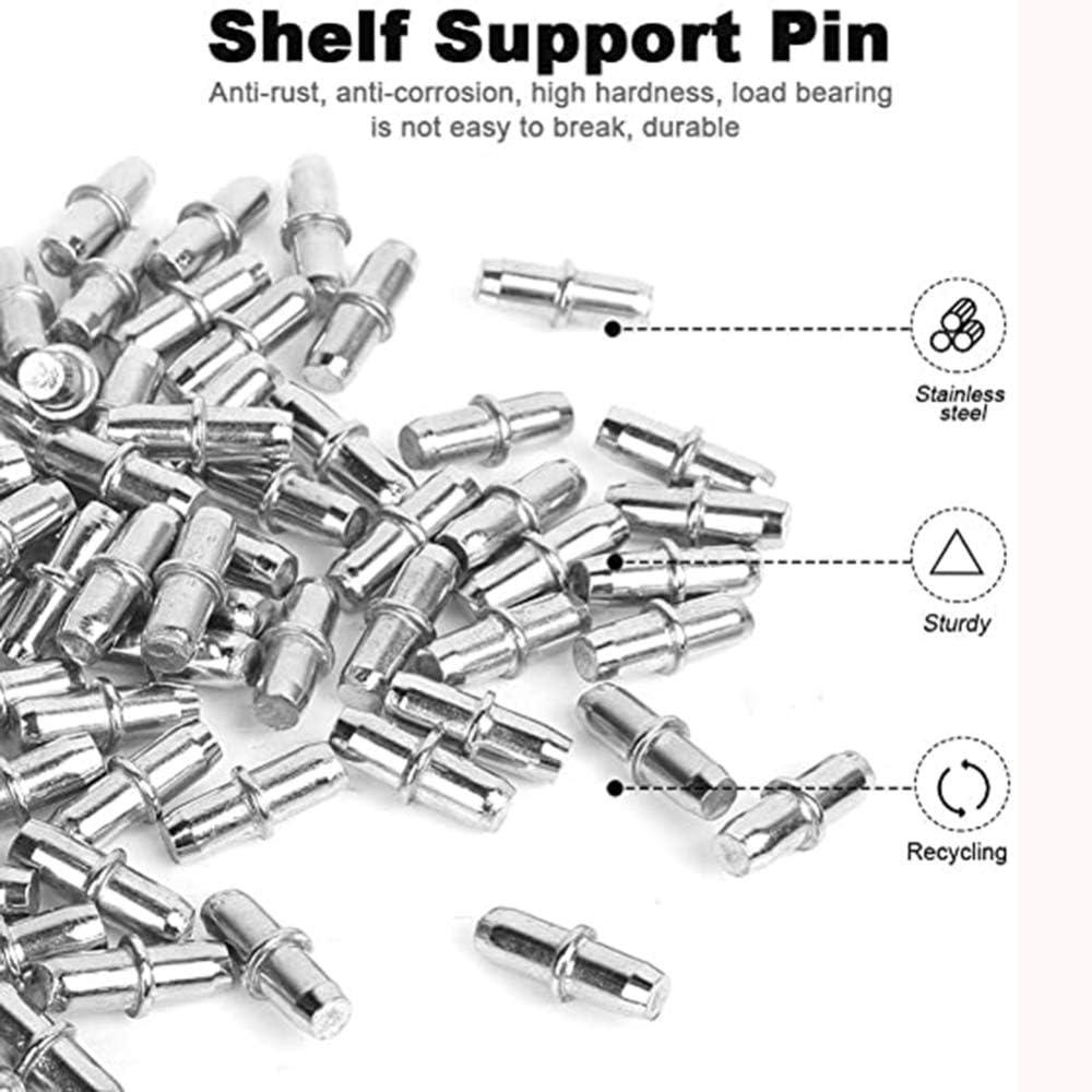 50 Unids 5mm Pernos de soporte de estante niquelado Esp/árragos Clavija Forma cil/índrica Soportes de estante Pernos para estantes Muebles Armario Gabinete fijo