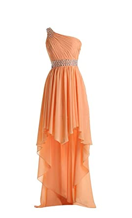 AngelDragon Hi-Lo Prom Dresses One-Shoulder Beaded Beach Chiffon Party Gowns UK-