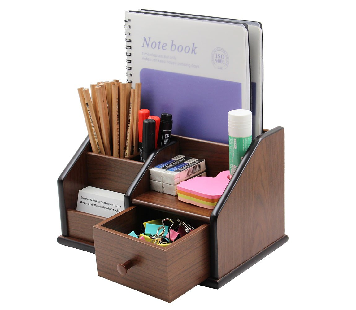 PAG Office Supplies Wood Desk Organizer Pen Holder Accessories Storage Caddy with 1 Drawer, 6 Compartments, Brown