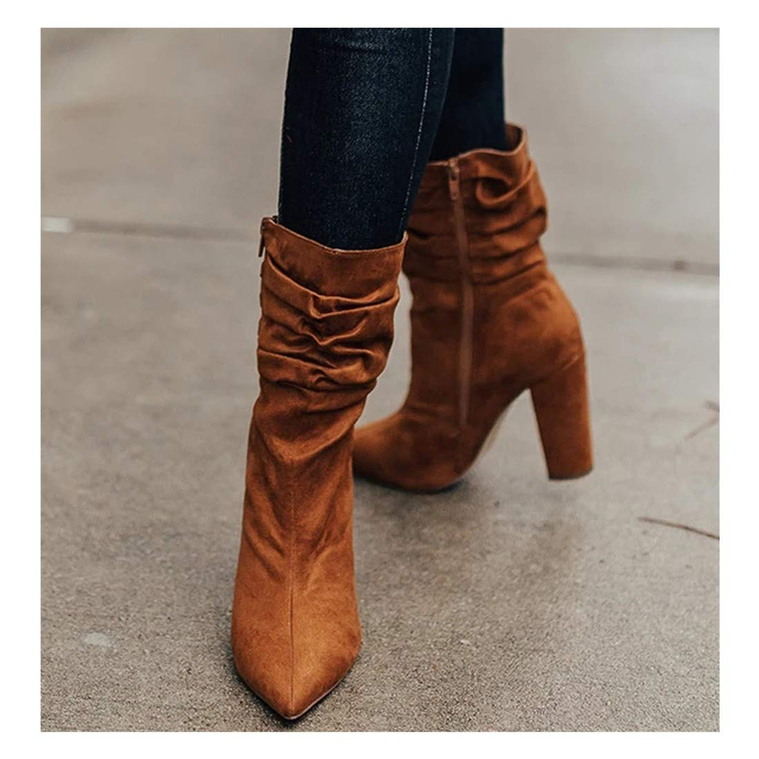 Nihewoo Women High Heel Boots Mid-Calf Boot Shoes Wedge Platform Boot Shoes Ladies Warm Boots Peep Toe Boots Brown by Nihewoo