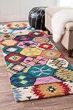 nuLOOM Bohemian Tribal Hexagon Hand Made Woolen Multi Runner Area Rugs, 2′ 6″ x 8′, Multi