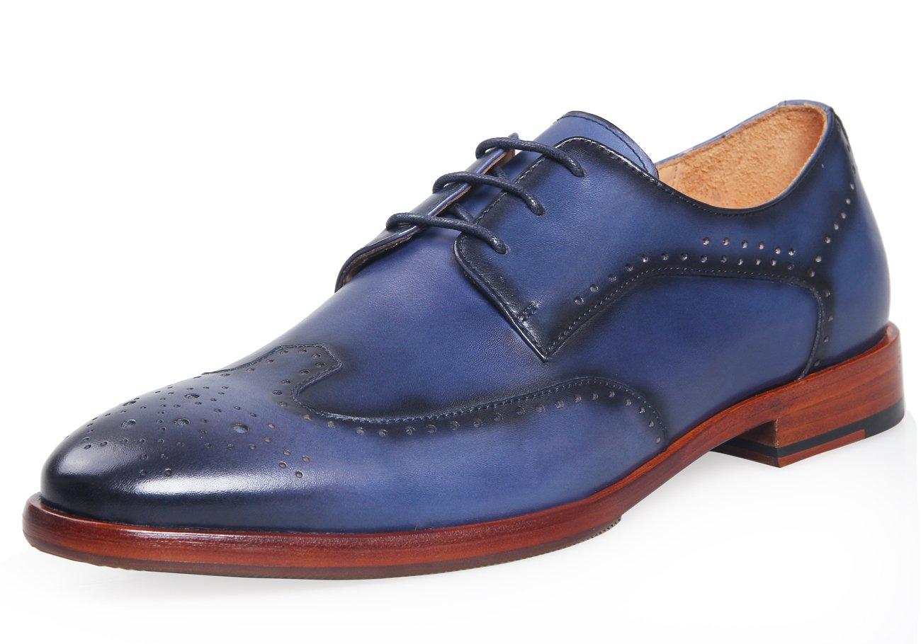 ELANROMAN Fashion Oxfords Lace-up Derbies Men Dress Leather Shoe Blue (US 8.5 EU 42, Blue)