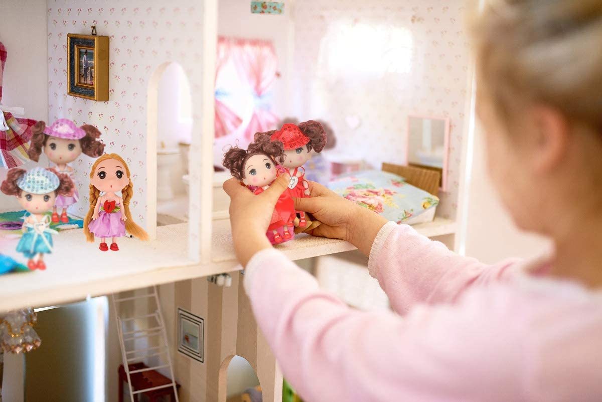 COFFLED 10pcs 5 and 3 Inch Dolls for Dollhouse Baby Doll Keychain with Miniature Princess Wonderful Gift for Your Girls As Miniature Doll with Clothes Lovely Miniature Silicone Baby