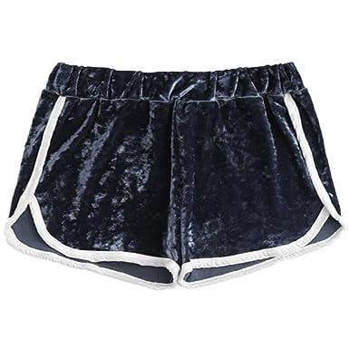 Minetom Femme Short De Sport Doux Été Sexy Séchage Rapide Élastique Hot  Pants Casual Yoga Mode Plage Pantalon De Velours  Amazon.fr  Vêtements et  ... f17c977c346