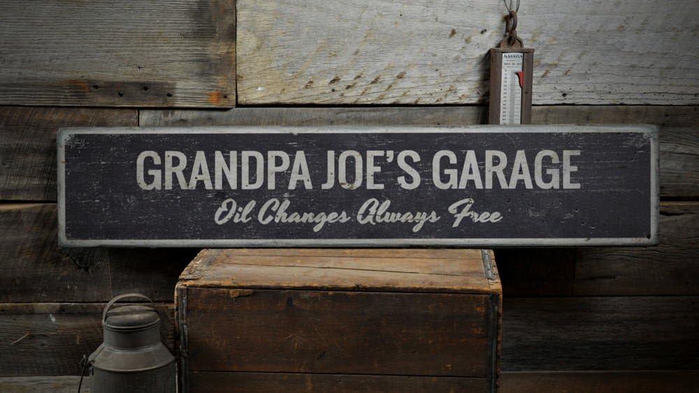 My Garage 7.25 x 10 Wooden Block Sign by My Word!