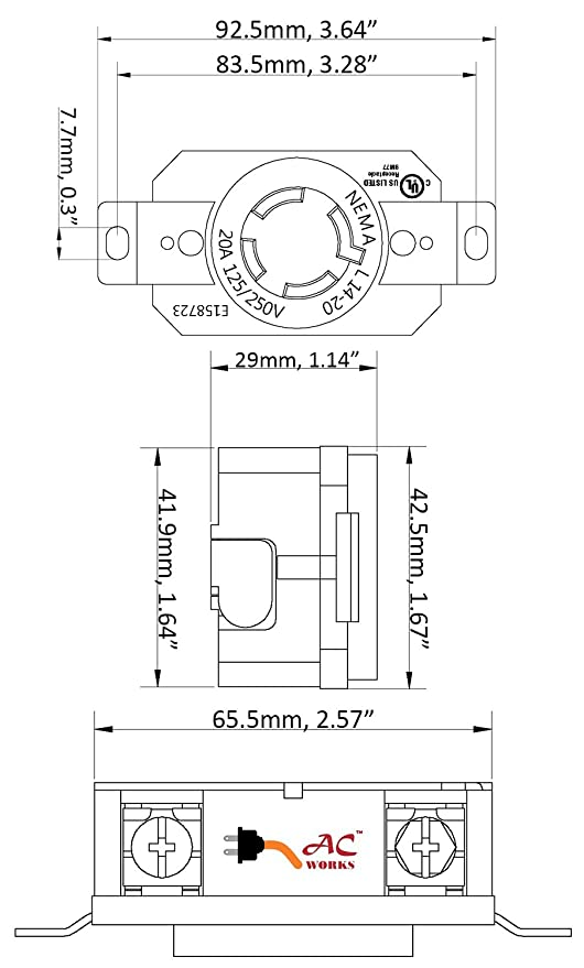 ac works fml1420r 20 amp 125 250 volt nema l14 20r flush rh amazon com