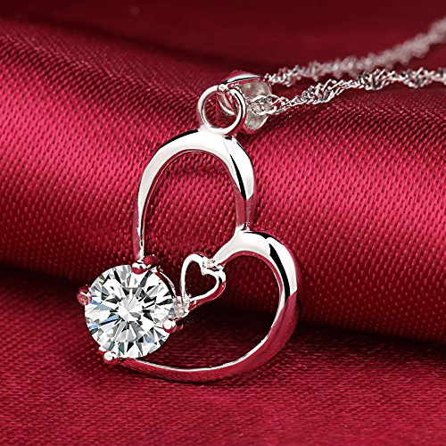 Generic 925 Silver necklace Pendant women love heart-shaped necklace Pendant crystal accessories fashion fashion short _paragraph_ clavicle Silver jewelry Japan Korea by Generic