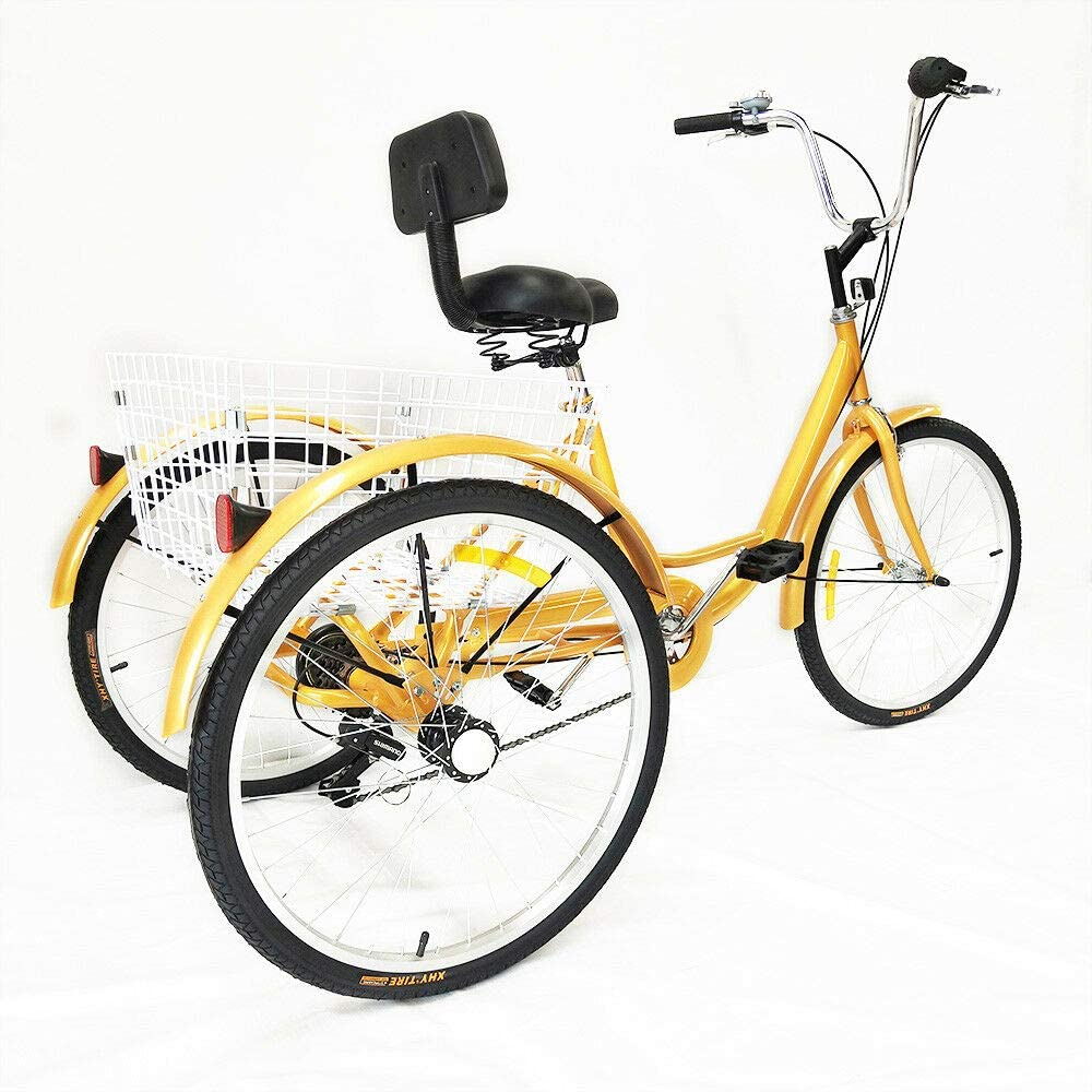LianDu 24 Golden 3-Wheel Bike Adult Tricycle 6-Speed Shopping Tricycle Cruise Bike for Old Man