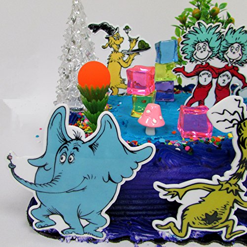 Dr. Seuss Themed Deluxe Birthday Cake Topper Set Featuring Various Characters and Decorative Themed Accessories