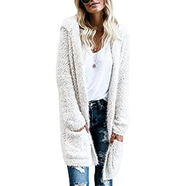 e7d274cbc iShine Women's Casual Open Front Long Sleeve Solid Color Long Thick Knit  Hoodie Two Pockets Cardigan Sweaters Outwear