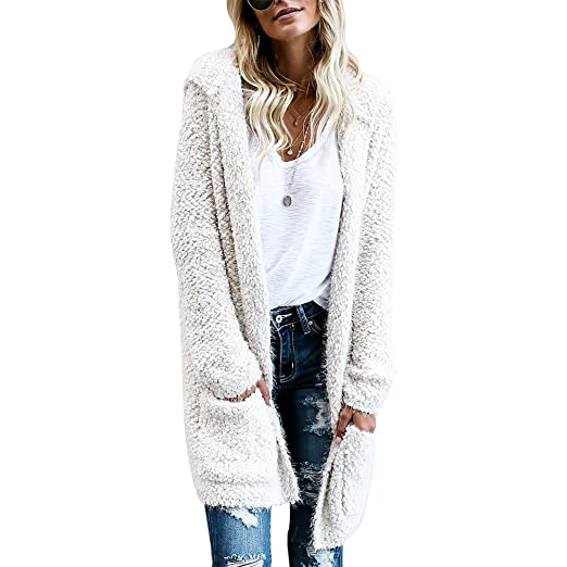 Image Unavailable. Image not available for. Color  iShine Women s Casual Open  Front Long Sleeve Solid Color Long Thick Knit Hoodie Two Pockets Cardigan be2699ce1
