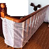 Powshop Children Safety Rail Balcony Stairs Net Banister Stair Safety Net for Kids/ Pet/ Toy Safety on Indoor/Outdoor Stairs, Balcony, or Patios, 9.8 x 2.5 ft