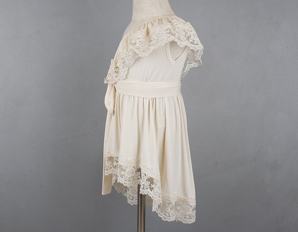 Bow Dream Flower Girl's Dress Vintage Lace One Shoulder Cream Ivory 8 by Bow Dream (Image #3)