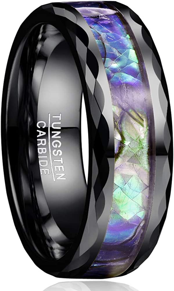VAKKI 8mm Abalone Shell Tungsten Carbide Rings Unisex Wedding Bands Faceted Edge Comfort Fit Size 5-14