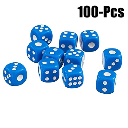 Joyibay Game Dice Set, 100Pcs Playing Dice Toy Opaque Round Corner Acrylic 6 Sided Dice (M Blue)