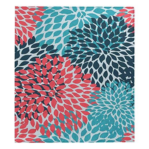INTERESTPRINT Dahlia Pinnata Flower Teal Coral Turquoise Soft Premium Fabric Quilt Bedding Twin Size 80