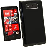 iGadgitz Black Glossy Durable Crystal Gel Skin (TPU) Case Cover for Nokia Lumia 820 Windows Smartphone Mobile Phone + Screen Protector