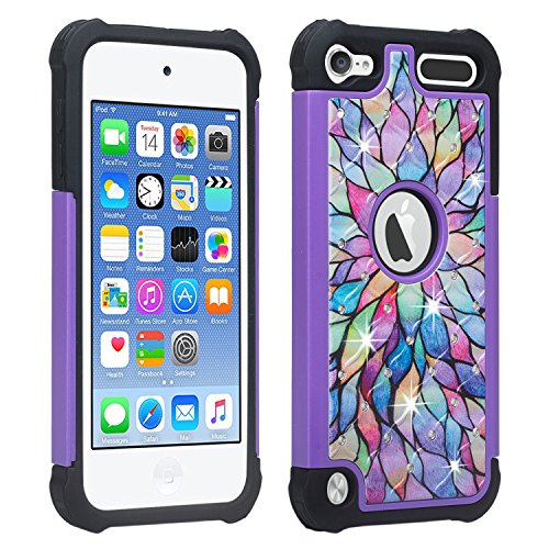 Apple iPod Touch 6th, 5th Generation Case - Wydan Studded Diamond Rhinestone Bling Hybrid Shock Absorbant Cover - Rainbow Flower