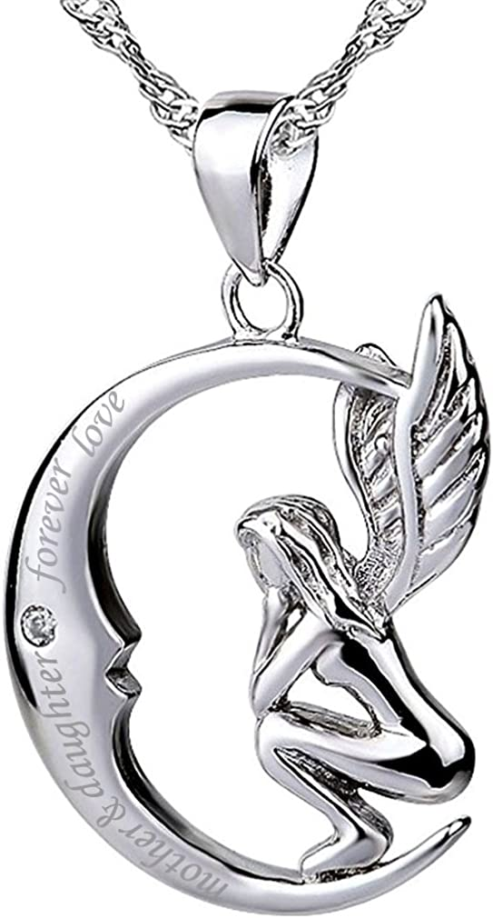 Sterling Silver Moon Angel Necklace Pendant Quote mother /& daughter forever love Cubic Zirconia 18