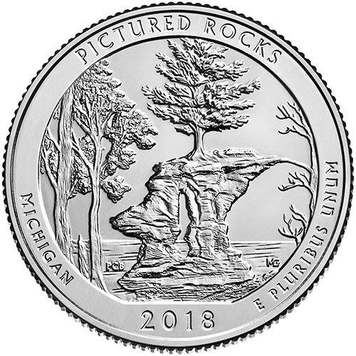 2018 P BU Pictured Rocks, Michigan National Park NP Quarter Choice Uncirculated US Mint