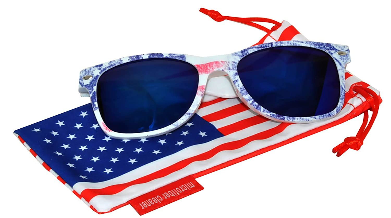 Classic American Patriot Sunglasses USA American Flag Frame Blue Mirror Lens OWL