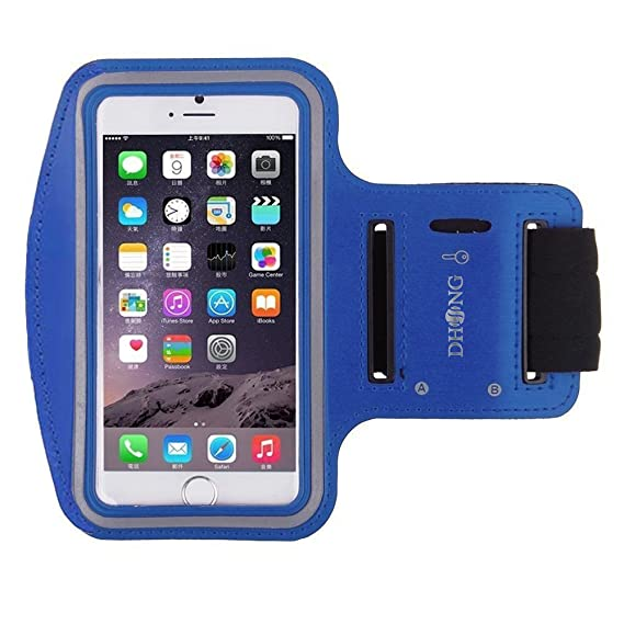 Dhong Water Resistant Cell Phone Armband Blue Middle Under 4 8 Inches