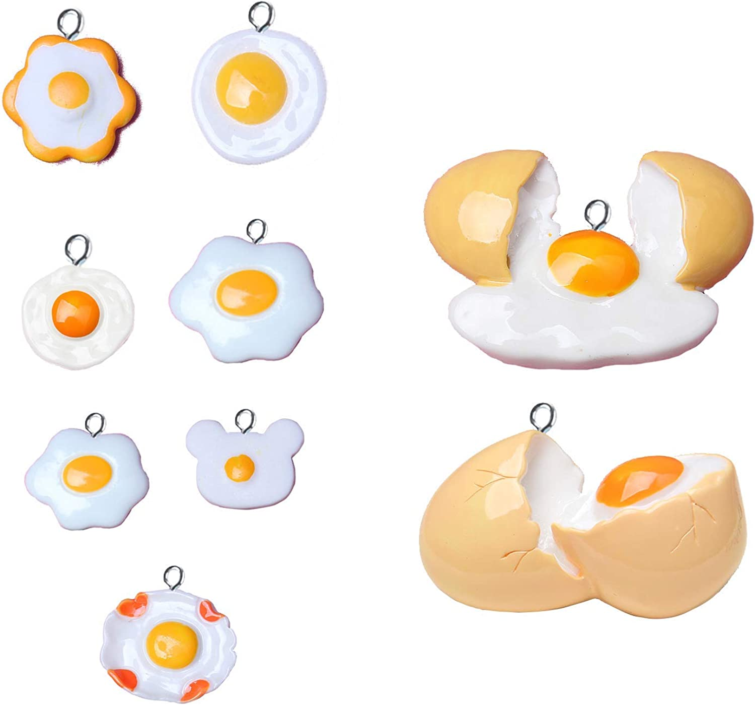 Cute Fried Egg Pendant Funny Poached Egg Pendant White Alloy Poached Egg White Yellow Enamel Charms Pendants Drop Dangle Earrings Necklace Jewelry Trendy Accessories DIY for Women Girls