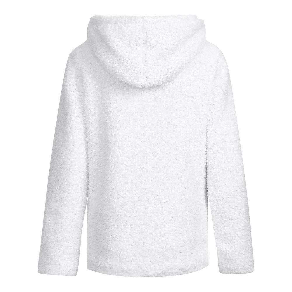 VESNIBA Women Autumn Long Sleeve Thick Hooded Open Stitch Coat Jacket Cardigan White