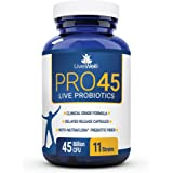 PRO45: #1 CLINICAL GRADE Probiotic Formula, 45 billion CFU, 11 patented strains. Dairy Free. Delayed release veggie caps. Promotes immune and digestive health. 100% Money back guarantee. 30 Day Supply