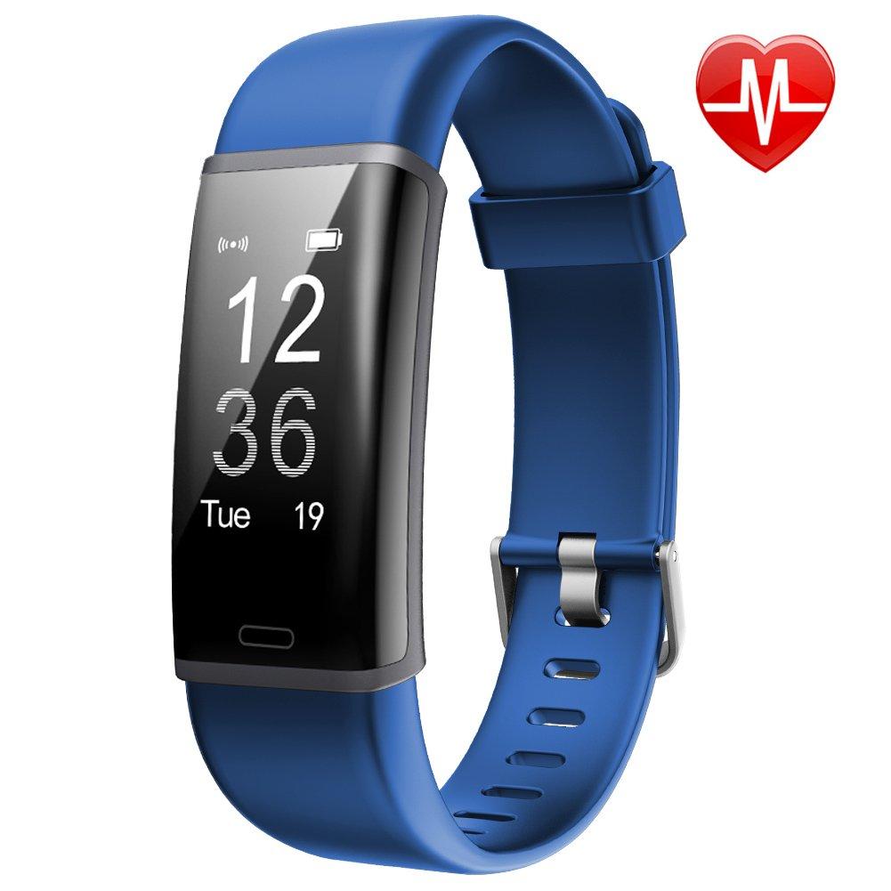 Lintelek Fitness Tracker,IP67 Wasserdicht Fitness Armband Pulsmesser und Schrittzähler für Damen Kinder Herren Fitness Tracker mit Pulsmesser Aaktivitätstracker für Damen Kinder Herren(Blau)