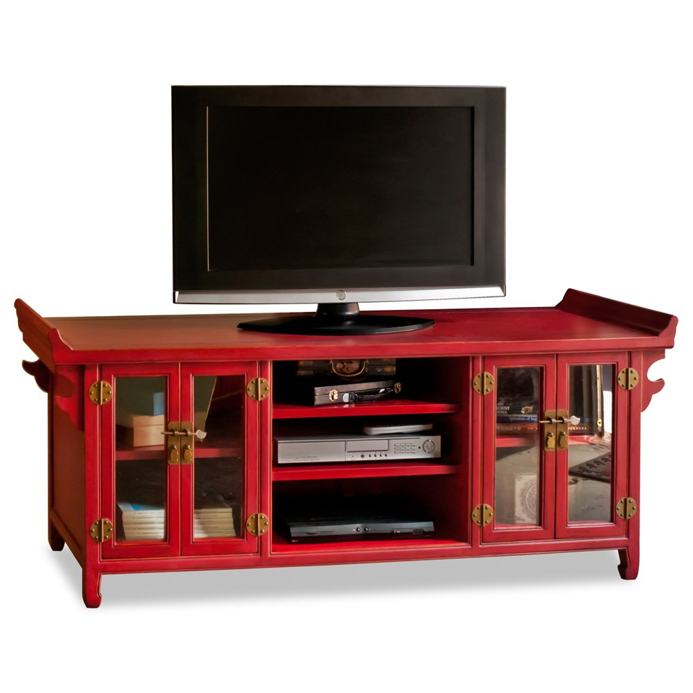 Amazon.com: 64in Hand Crafted Elmwood Altar Style Media Cabinet   Red:  Kitchen U0026 Dining
