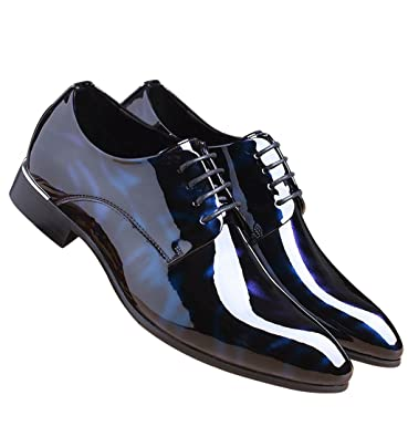 27f23fbbcb Santimon Men Shoes Dress Pointed Toe Floral Patent Leather Lace Up Oxford  Blue 5 D(