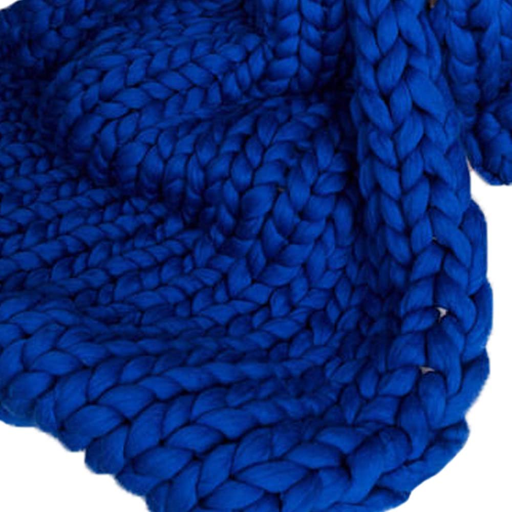 Royal Blue Super Chunky Knit Blanket Merino Wool Blanket 79x79in Handmade Throw Extreme Knitting Chunky Blanket Super Bulky Yarn Throw by Clisil (Image #1)