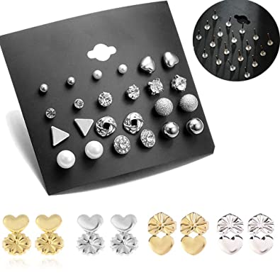 29106b370 Amazon.com: MissDaisy 16 Pairs Stud Earrings and Earring Backs Round ...