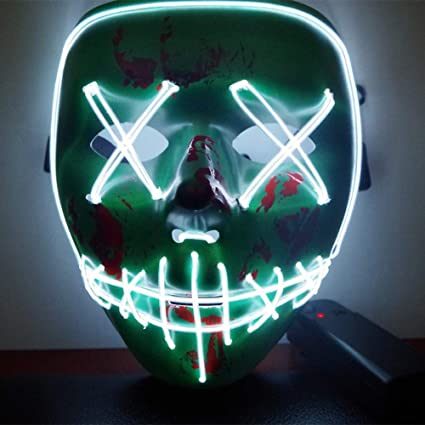 CompraFun Máscara LED Halloween, Máscara Disfraz Luminosa Craneo Esqueleto, para Navidad Halloween Cosplay Grimace