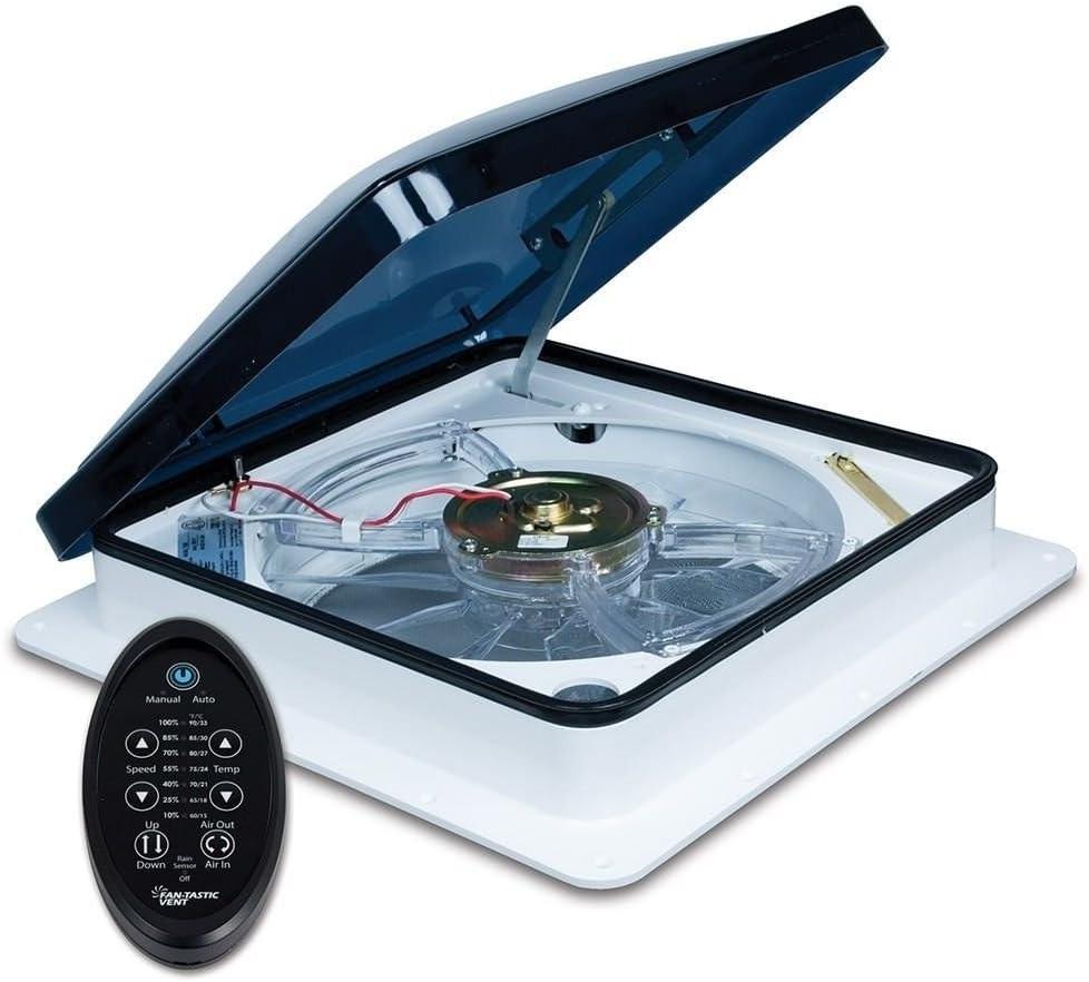 Fantastic Vent 807351 Off White 12 Volt Ceiling Controlled Fan, Remote, Thermostat, 13 Speeds, Rain Sensor