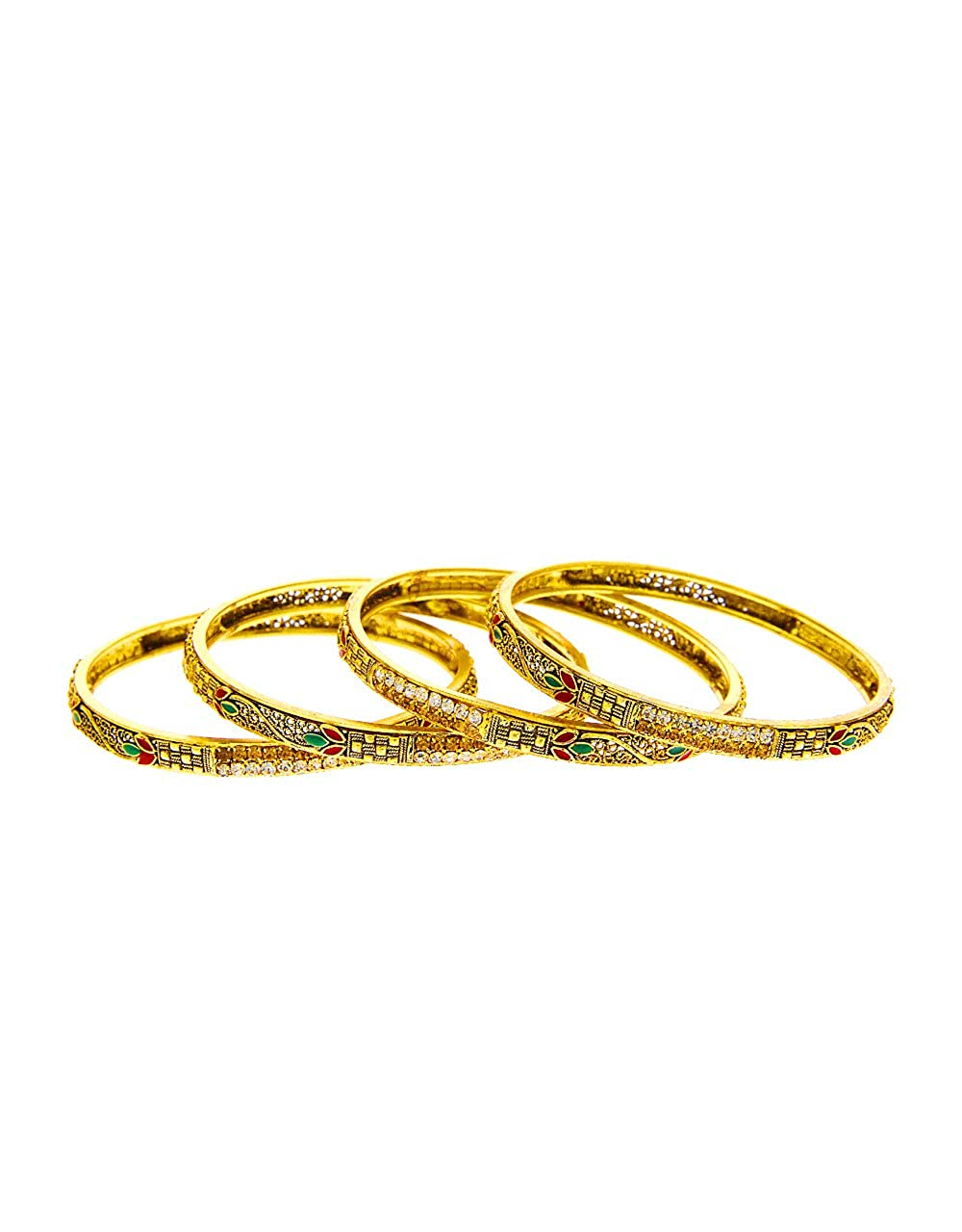 Anuradha Art Golden Finish Studded Sparkling Shimmering Stone Traditional Bangles Set for Women//Girls
