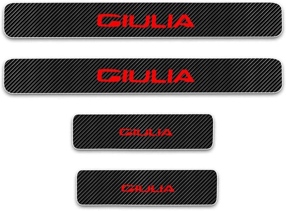 AEVEILS 4PCS Einstiegsleisten T/ürschweller f/ür Alfa Romeo Giulia Carbon-Einstiegsleistenschutz f/ür Karosserien Willkommens-Pedalplattenschutz Autozubeh/ör