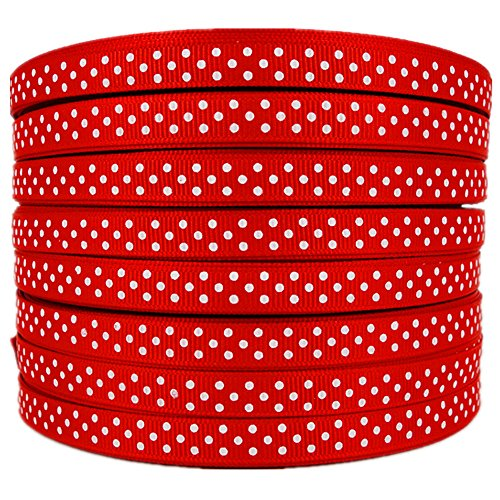 - White Swiss Dots 3/8 Inch Red Grosgrain Ribbon 50 Yards